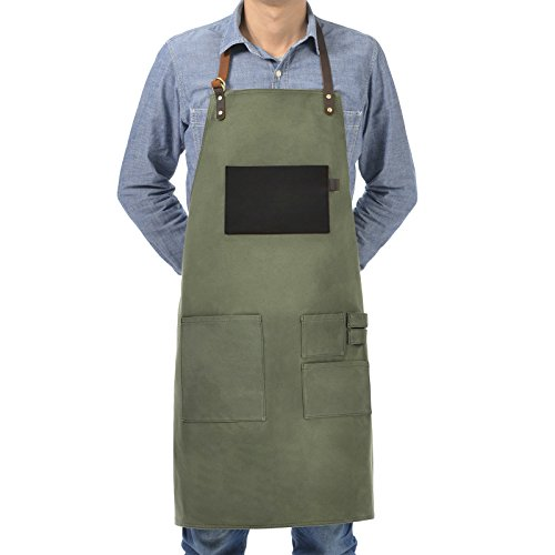VEEYOO Heavy Duty Waxed Canvas Utility Apron with Pockets, Adjustable Shop Work Tool Welding Apron for Men and Women, Moss Green, 27x34 inches by VEEYOO