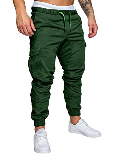 Cindeyar Men's Cargo Pants Slim Fit Casual Jogger Pant Chino Trousers Sweatpants(Green, X-Large) ()
