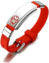 Free Engraving Unisex Silicone and Stainless Steel Medical Alert ID Bracelets, Adjustable