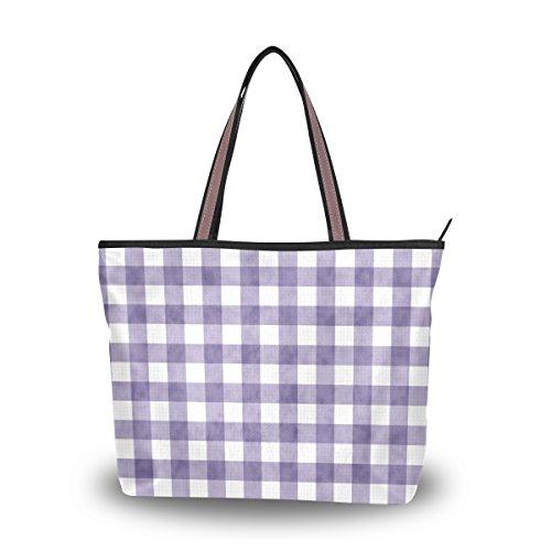 My Daily Women Tote Shoulder Bag Purple Gingham Plaid Checkered Stripe Handbag Medium ()