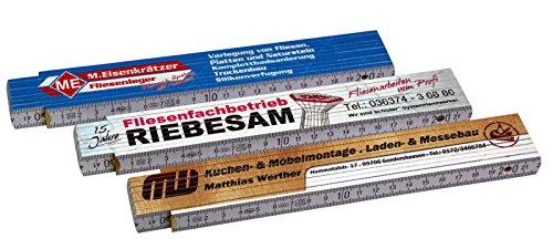 Zollstock Gliedermaßstab Meterstab mit Druck / Fotodruck 4-farbig Markenware von ADGA 10 Stück