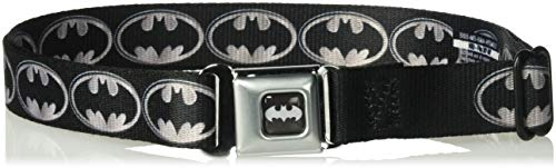 Buckle-Down Men's Seatbelt Belt Batman Kids, Shield Black/Silver, 1.0