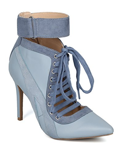 Alrisco Women Pointy Toe Lace Up Ankle Cuff Stripe Corset Stiletto Ankle Boot - HF14 by Wild Diva Collection Blue / Grey Leatherette P8ru1Zkw5e