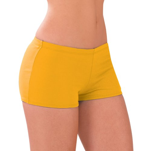 100  Stretch Nylon Low Rise Boy Cut Cheerleading Brief Trunks  Al  Bright Gold