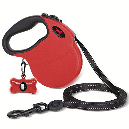 Heavy Duty Retractable Dog Leash   16 ft Dog Leash With Reflective Stitching For Nighttime Safety   One Button Lock and Release   Comfortable Hand Grip   For Dogs Up to 120 lbs (XL, Red/Black) -
