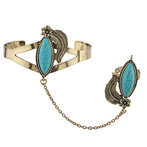 - Lux Accessories Burnished Gold Tone Synthetic Turquoise Leaf Cuff Bracelet Ring