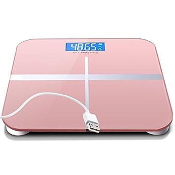 ZhangTianShi Báscula de baño Escala de carga USB a escala precisa escala electrónica de temperatura de visión nocturna 4 dos dicha precisión 26 × 26 cm, ...