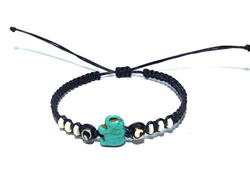 et - Handmade Bracelet - Adjustable Cord Bracelet (Blue) (Ecolution Hemp Fabric)