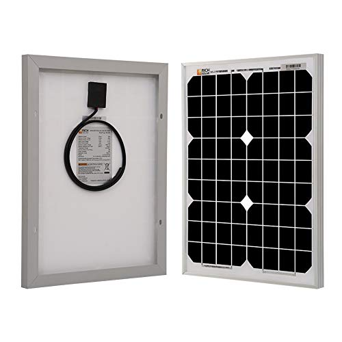 - Richsolar 20 Watts 12 Volts Monocrystalline Solar Panel for DC 12V Battery Charging and Any Other Off Grid Applications