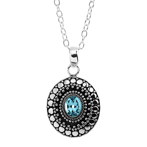 Silpada 'Contrast Effect' 2 1/2 ct Natural Swiss Blue Topaz Pendant Necklace in Sterling Silver