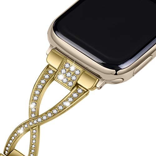 JFdragon Watch Bands Compatible with Apple Watch 38mm 40mm 42mm 44mmSE Series 6 5 4 3 2 1 Women Jewelry Metal Wristband Strap with Bling Diamond Replacement Bracelet (Gold, 38mm/40mm)