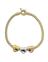 14K Gold Plated Women Charm Bracelet & Rat Tail, Heart Style & Rat Tail Style, Tri Tone 3mm Wide, 6 In.