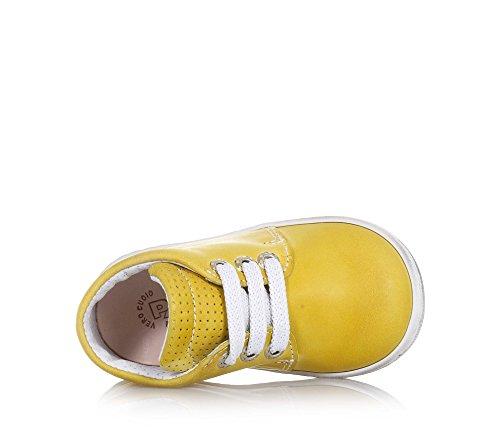 PANDA - Gelber Schuh mit Schnürsenkeln, aus Leder, made in Italy, moderner Stile, Jungen