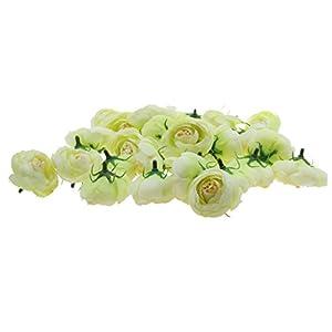 Jili Online Pack of 30pcs Artificial Camellia Flower Craft Silk Heads Wedding Decor 12 Colors - Green, 4cm 119