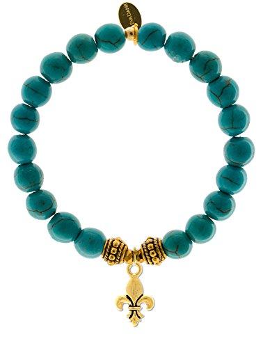 EvaDane Natural Turquoise Gemstone Rope Bead Fleur de Lis Charm Stretch Bracelet - Size 9 Inch (1_TUR_G_R_FLE_9)