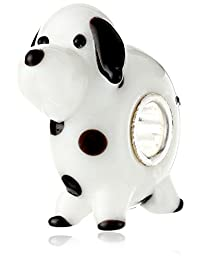 Sterling Silver Round Black White Spot Dalmatian Puppy Dog Pet Glass Bead For European Chamilia Biagi Troll Pandora Charm Bracelets
