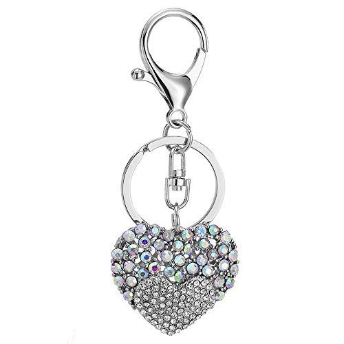 Crystal Heart Bag - QTKJ Cute Crystal Love Heart Alloy Keychain Purse Pendant Car Pendant Handbag Charm
