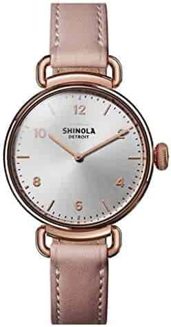 Shinola The Canfield Silver Dial Leather Strap Ladies Watch S0120089878