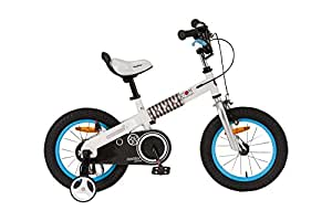 RoyalBaby CubeTube Kid's bikes, unisex children's bikes with training wheels, various trendy features, gifts for fashionable boys & girls, Blue Buttons, 12 inch