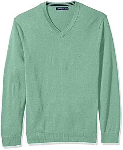 Nautica Men's Long Sleeve Solid Classic V-Neck Sweater, Fin Green S73110, Large (Nautica Men Solid)