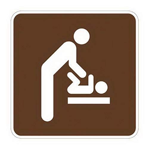 TEcell Rs-137 Engineer Grade Prismatic Square National Park Service Sign Legend Baby Changing Station Men's Room Funny Metal Signs Funny House or Home Wall Plaque 12x12