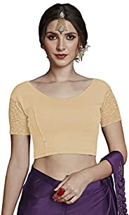 CRAZYBACHAT Crazy Bachat Women's Readymade Indian Designer Net Sleeves Stretchable Blouse for Saree Crop