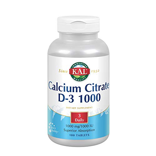 KAL Calcium Citrate with D 1000 IU Tablets, 1000 mg, 180 Count