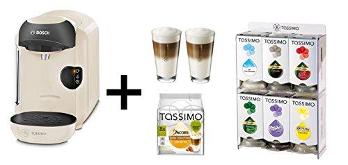 Bosch TASSIMO VIVY creme + T Discs + WMF Gläser Set + Spender Heißgetränkemaschine