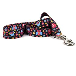 """Yellow Dog Design Bright Owls Dog Leash 3/4"""" Wide And 5' (60"""") Long, Small/Medium"""