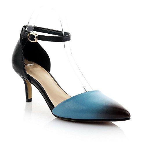 Amoonyfashion Femmes Pointu Fermé Orteils Chaton Talons Vache Cuir Assorti Couleur Pompes Chaussures Bleu