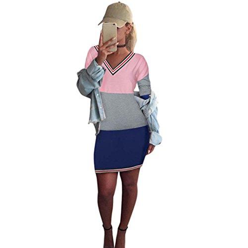 Price comparison product image Kimloog Women V-Neck Long Sleeve Color Block Sheath Dress Casual Short Mini Pencil Dresses (2XL,  Pink)