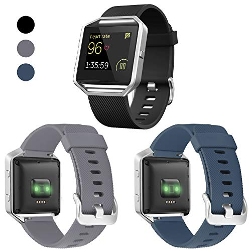 ESeekGo Compatible with Fitbit Blaze Bands, 3 Pack Silicone Band with 1 Pcs Metal Frame Compatible with Fitbit Blaze Sport Fitness Accessory Replacement Wristband for Men ()