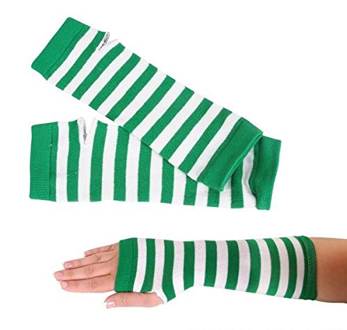 Rhode Island Novelty Green and White Striped Arm Warmers | One-Size Fits Most | One -