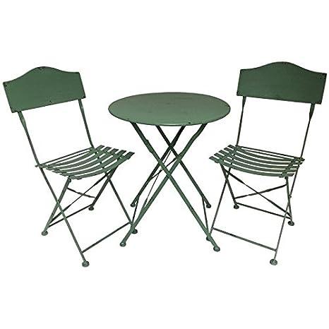 Salón de jardín Bistrot silla mesa de jardín en hierro ...