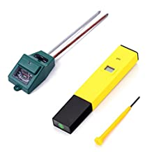 HDE Horticulture Aquaponics Acidity Kit- 3-in-1 Soil Light Probe + pH Meter Digital Pen