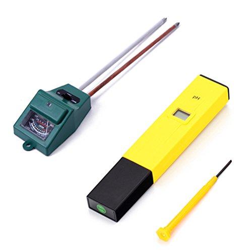 HDE Horticulture Aquaponics Acidity Kit- 3-in-1 Soil Light Probe + pH Meter Digital Pen by HDE