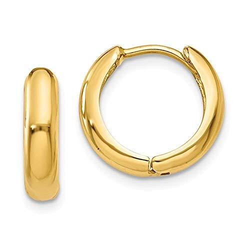 Tiny 14k Yellow Gold Huggie Hinged Hoop Earrings, 0.5 In (12mm) (3mm Tube) 14k Yellow Gold Hugs