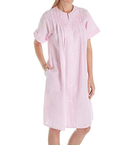 Miss Elaine Seersucker Short Button Front Gown (852608) S/Pink/White