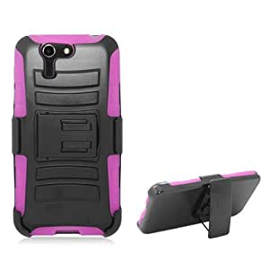 Dual Layer Plastic Silicone Black On Hot Pink Hard Cover Snap On Case W/ Belt Clip Holster Kickstand For Asus PadFone X (Accessorys4Less)