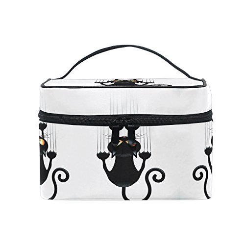 Print Train Case - Makeup Bag Cat Paw Print Travel Cosmetic Bags Organizer Train Case Toiletry Make Up Pouch