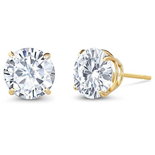 14k White Gold Moissanite Earrings (Charles & Colvard 3.00 ctw Round Moissanite Stud Earrings in 14K Yellow Gold)