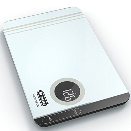 Dr.meter Digital Touch Kitchen Scale,High-precision Multi-function Food Scale with Backlit Display,Easy to Clean Tempered Glass Surface,11lb/5kg,DKS10