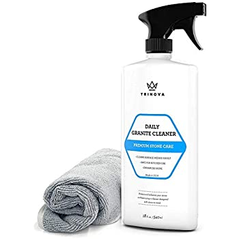 TriNova Granite Cleaner and Polish for Daily Use - Enhances Shine and goes on Streakless - for Countertops, Marble, Stone, Bathroom Tile Kitchen, Islands and More