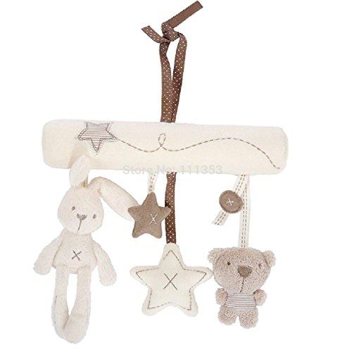 Baby Infant Car/Crib Hanging Soft Plush Rabbit, Bear and Stars Rattles (Plush Animals/Stars) - Rabbit Plush Rattle