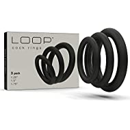 Super Soft Black Cock Ring Erection Enhancing 3 Pack by Lynk Pleasure Products, 100% Medical Grade Pure Silicone Penis Ring Set for Extra Stimulation for Him - Bigger, Harder, Longer Penis