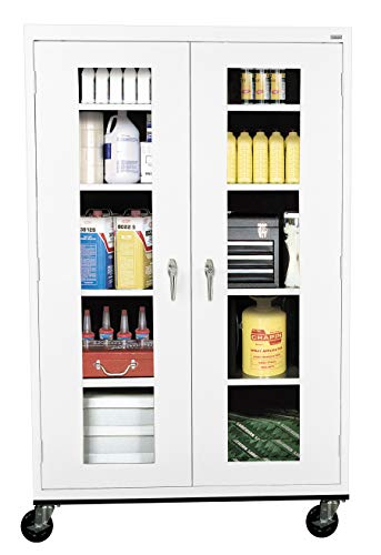 (Sandusky Lee TA4V462472-22 Elite Series Transport Mobile Clear View Storage Cabinet, White)