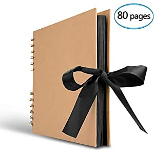 Innocheer Scrapbook, 80 Pages Photo Album, Great for Craft Paper DIY Anniversary, Wedding, Valentines Day Gifts(Brown)