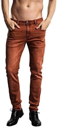 Slim Fit jeans, ZLZ Men's Younger-Looking Fashionable Colorful Super Comfy Stretch Skinny Fit Denim Jeans