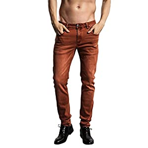 ZLZ Slim Fit Jeans, Men's Younger-Looking Fashionable Colorful Super Comfy Stretch Skinny Fit Denim Jeans