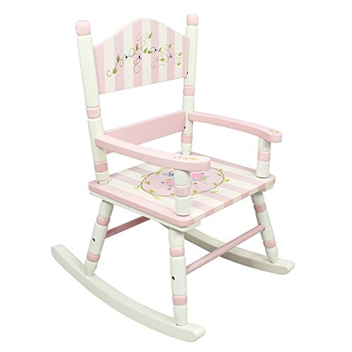 Teamson Design Corp Fantasy Fields - Bouquet Thematic Kids Wooden Rocking Chair Imagination Inspiring Hand Crafted & Hand Painted Details Non-Toxic, Lead Free Water-based Paint (Bouquet Hand Free)